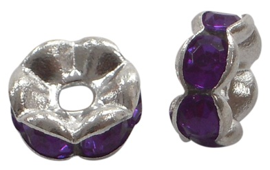 8 mm Shaped Rhinestone Spacers Silver/Purple 25 pack
