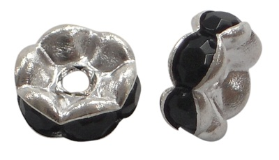 7 mm Shaped Rhinestone Spacers Silver/Black 25 pack