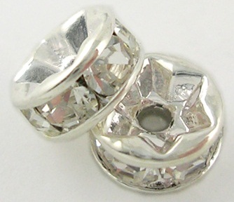 10 mm Rhinestone Spacers Silver/Clear 25 pack
