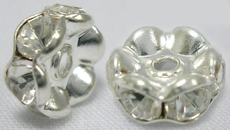 10 mm Shaped Rhinestone Spacers Silver/Clear 25 pack