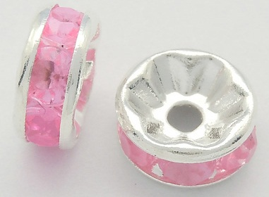 8 mm Rhinestone Spacers Silver/Pink 25 pack