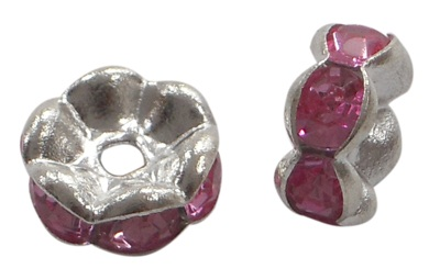 8 mm Shaped Rhinestone Spacers Silver/Fuchsia 25 pack