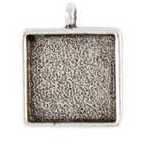 15mm .999 A Silver Plated Patera Single Loop Square Bezel