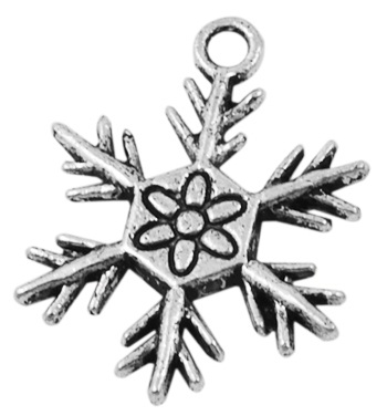 22mm Antique Silver Snowflake Number 1 Lead and Nickel Free