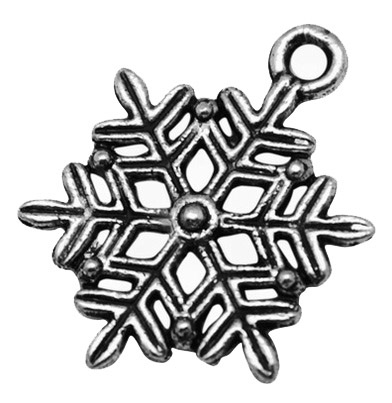 19mm Antique Silver Snowflake Number 2 Lead and Nickel Free