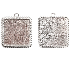 17x13mm .999 S Silver Plated Ornate Single Square Bezel 2 pack