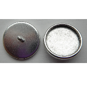 12mm .999 A Silver Plated Patera Round Brass Button Bezel