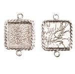 17x13mm .999 S Silver Plated Ornate Double Square Bezel 2 pack
