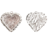 40x38mm .999 S Silver Plated Patera Ornate Heart Bezel