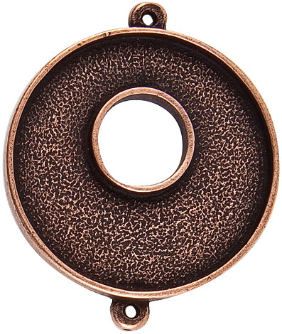 32mm Copper Plated Patera Double Loop Toggle Circle Bezel