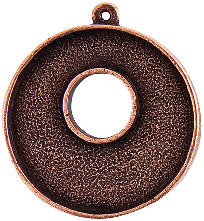 32mm Copper Plated Patera Single Loop Toggle Circle Bezel