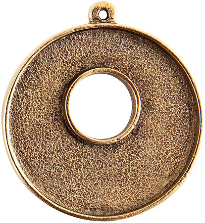 32mm 24K Gold Plated Patera Single Loop Toggle Circle Bezel