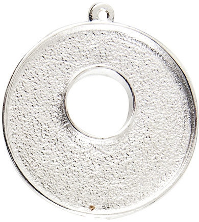 32mm .999 S Silver Plated Patera Single Loop Toggle Circle Bezel