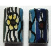 Peruvian Hand Painted Ceramic Bead - Tube 01