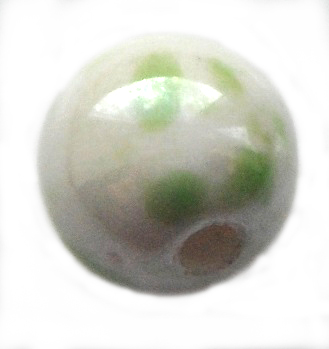 Handmade Pearlised Porcelain Beads - 12mm White/Green