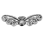 22mm Antique Silver Colour Wing 2 Charm Lead Free