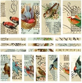 Patera Collage Sheets for Channel Beads Birds