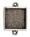 13mm .999 A Silver Plated Patera Double Loop Square Bezel 2 pack