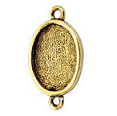 10x14mm 24K Gold Plated Patera Double Loop Oval Bezel 2 pack