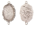 15x18mm .999 A Silver Plated Patera Ornate Double Oval 2 pack