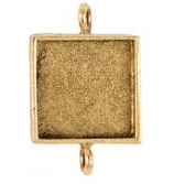 15mm 24K Gold Plated Patera Double Loop Square Bezel