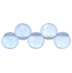 25 6mm Top Drilled Czech Rounds Transparent Airy Blue S0012