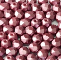 25 pack 6 mm Fire Polished Pastel Burgundy 25031