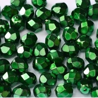 25 pack 6 mm Fire Polished Jet Heavy Metal Emerald 23980 34517