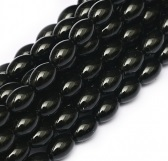 50 Czech Rice Pearls 6 x 4 mm Black 70409