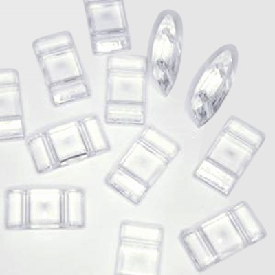 2 Hole Acrylic Spacer or Carrier Beads 25 pack clear