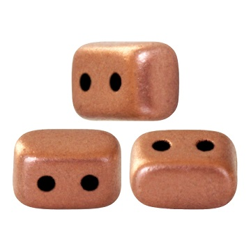 10 grams Ios 2 hole beads Copper Gold Matte 00030 01780