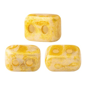 10 grams Ios 2 hole beads Opaque Beige Spotted 02010 65322