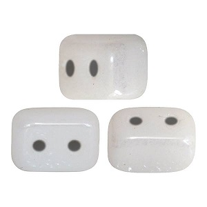 10 grams Ios 2 hole beads White Beige Lustre 03000 14400