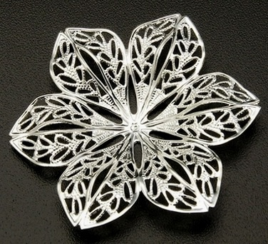 43mm Silver Colour Shaped Brass Filigree Flower