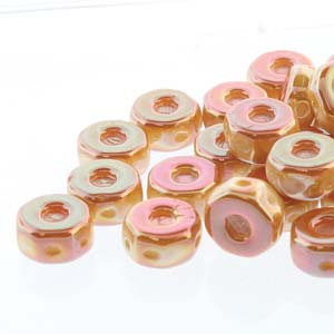30 pack Czech glass Octo Beads Chalk Apricot 03000 29123