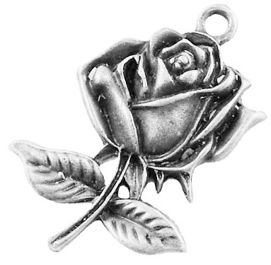 23mm Antique Silver Rose Charm Number 2 Lead and Nickel Free