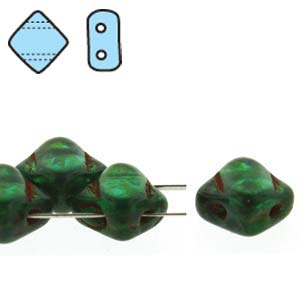 40 pack 2 hole Silky Beads Teal Travertine 50720 86800