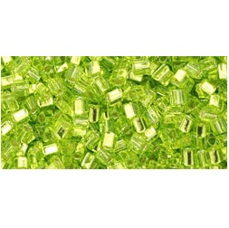 10g TOHO size 11 Triangles Silver Lined Lime TG-11-24