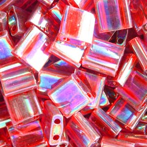 5 grams 5mm 2 hole Tila Beads Transparent Red AB 254