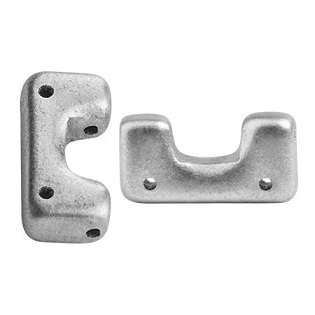 10 grams Telos 4 hole beads Silver Aluminium Matte 00030 01700