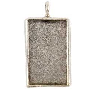 18x31mm .999 A Silver Plated Patera Single Loop Rectangle Bezel
