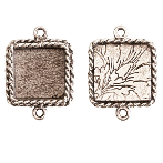 17x13mm .999 A Silver Plated Ornate Double Square Bezel 2 pack