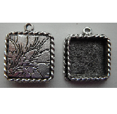 17x13mm .999 A Silver Plated Ornate Single Square Bezel 2 pack