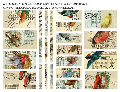 Collage Sheet Birds Sized to fit Channel Beads