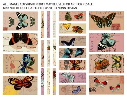 Collage Sheet Butterflies sized to fit Channel Beads