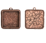 17x13mm Copper Plated Patera Ornate Single Square Bezel 2 pack