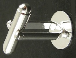 Silver Colour Cufflink with 12mm Flat Pad 1 Pair