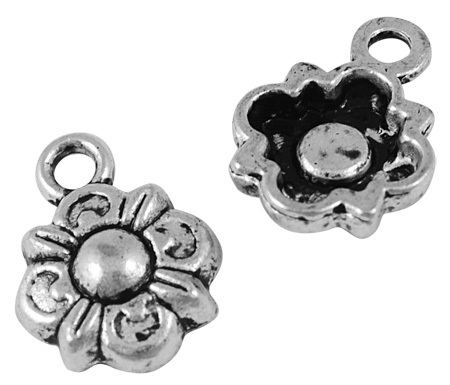 11mm Antique Silver Flower Charm Number 3 Lead and Nickel Free