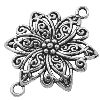 Flower Link 1 Antique Silver Colour Lead and Nickel Free