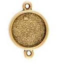 12mm 24K Gold Plated Patera Double Loop Round Bezel 2 pack